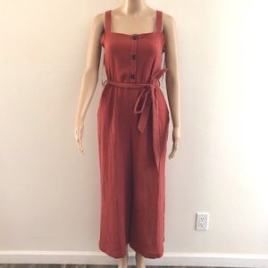 Rachel Zoe button up linen jumpsuit